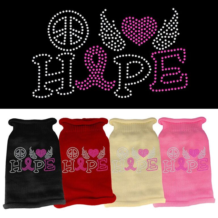 Rhinestone Knit Dog Sweater - Peace, Love, Hope