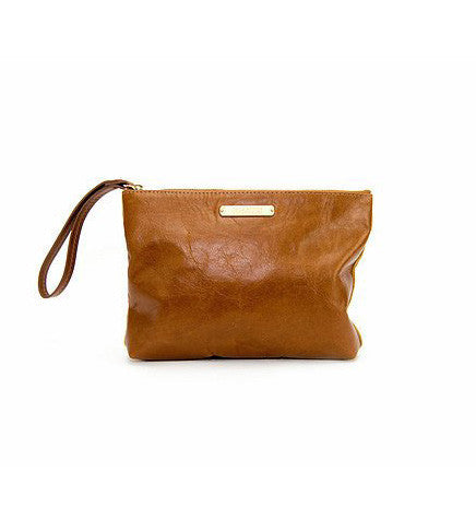 THE CARRY ON CLUTCH POLO TAN SUEDE