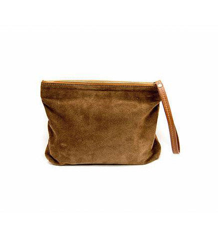 THE CARRY ON CLUTCH POLO TAN SUEDE - zalamoon.com