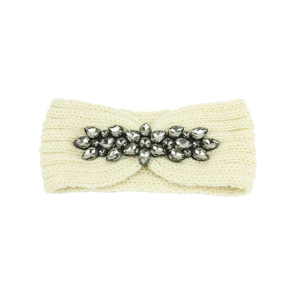 Thick Knit Rhinestone Jeweled Turban Headwrap in Ivory