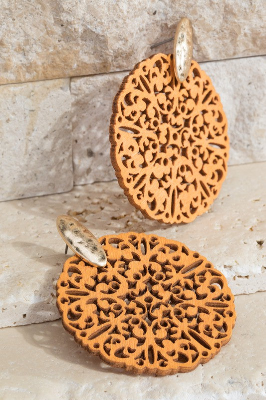 Wood Filigree Post Earrings in Brown