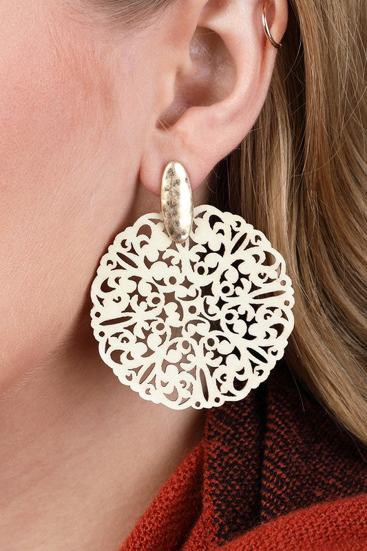 Wood Filigree Post Earrings in White