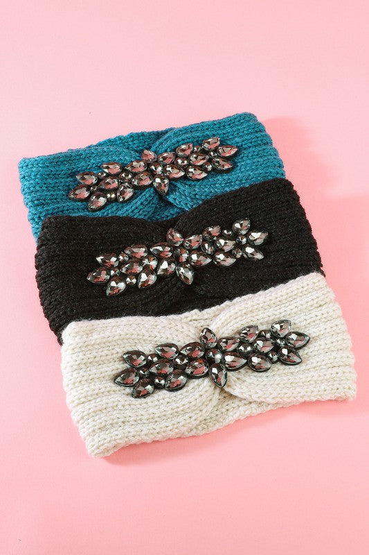 Thick Knit Rhinestone Jeweled Turban Headwrap in Teal