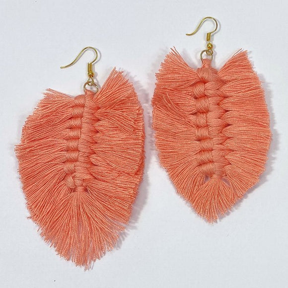 Threaded Tassel Leaf Earrings in Peach