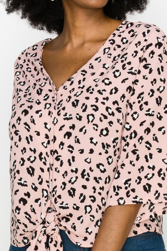 Pink Leopard Button Down with Tie Front