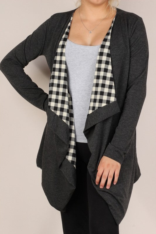 Charcoal Drape Front Cardigan with Buffalo Check Lining