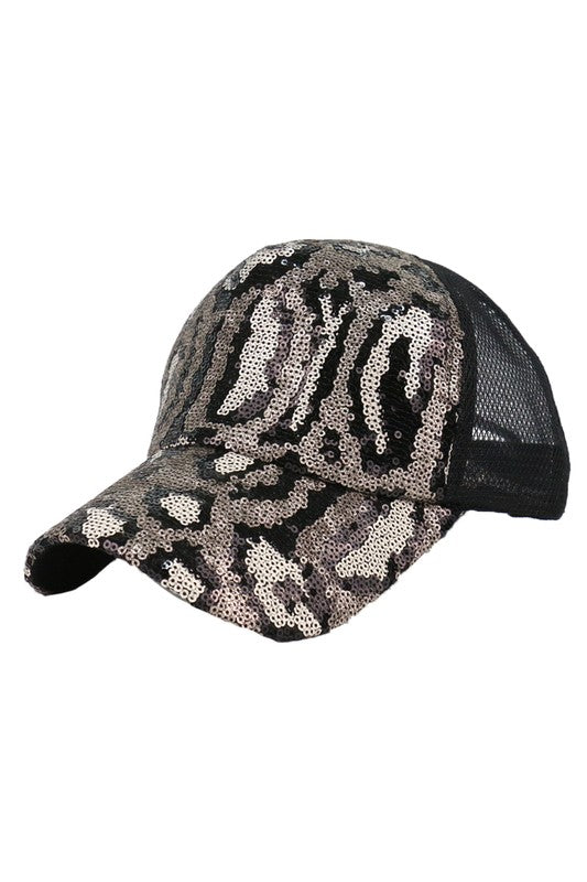 Leopard Sequin Baseball Cap in Choice of Colors