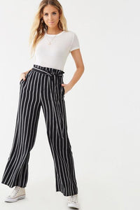 Regular & Curvy Bella Black & White Striped Paperbag Pants