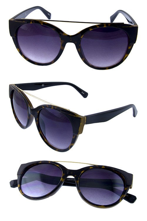 Retro Round Sunnies with Metal Rebar Accent