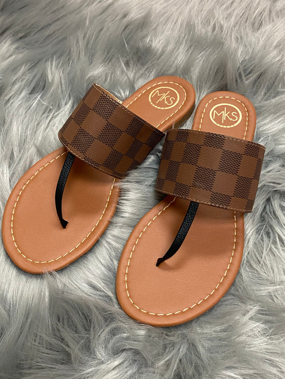 Brown Checkerboard T-Strap Sandals