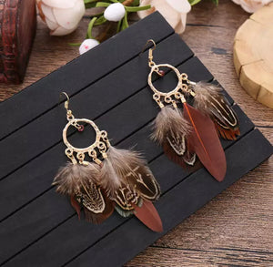 Bohemian Dangle Feather Earrings in Brown