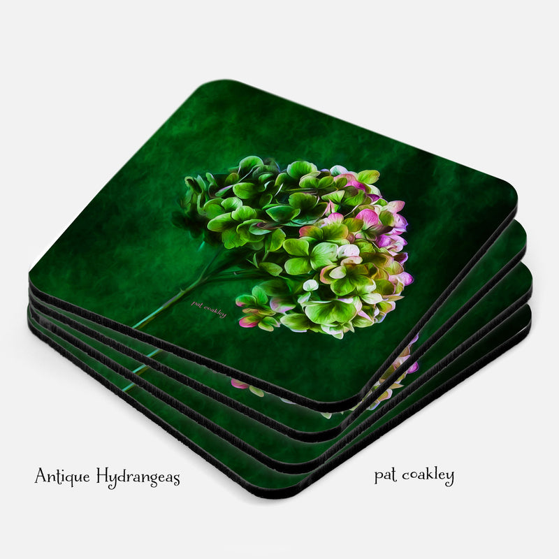 Green Hydrangea Flower Coaster Set of 4-Unique Hostess Gifts-ThePhotoGardener