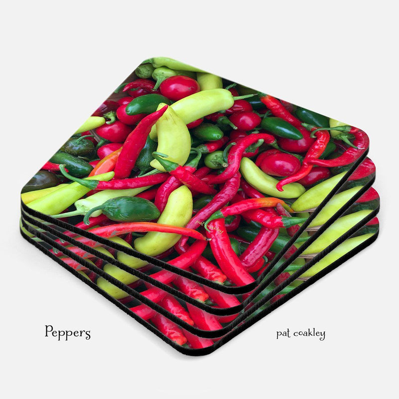 Red and Green Hot Peppers Coaster Set | Hostess Gift