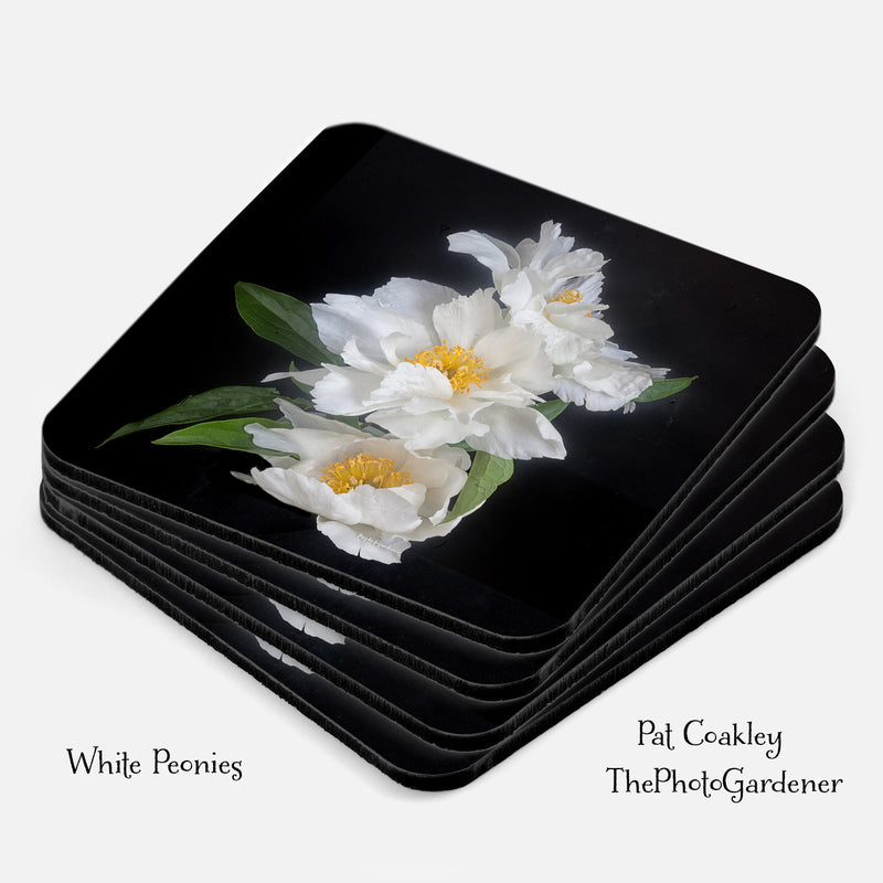 White Peonies Coaster Set|Hostess and Housewarming Gifts