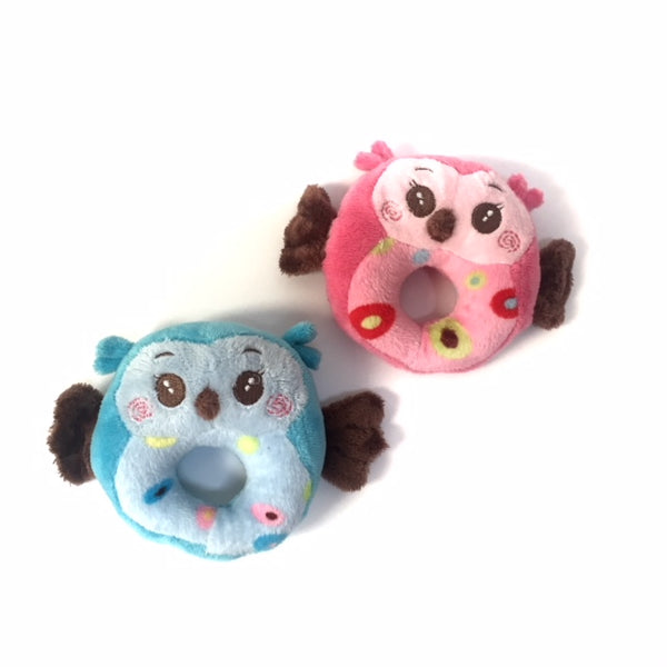 Owl Toy With Squeaky Donut Hole