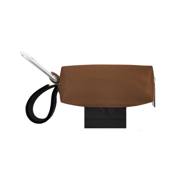 POOP BAG CARRIER - FAUX LEATHER BROWN
