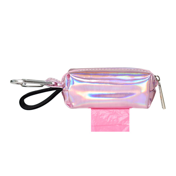 POOP BAG CARRIER - HOLOGRAPHIC PINK