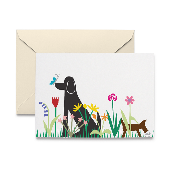 Dogs in Garden Note Card