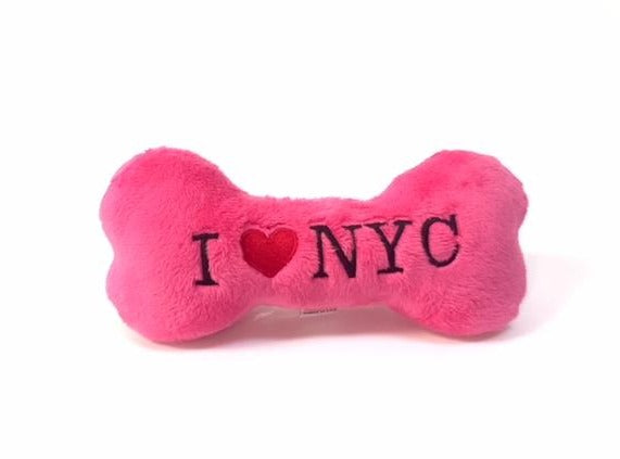 I LOVE NYC Squeaky Bone - Hot Pink