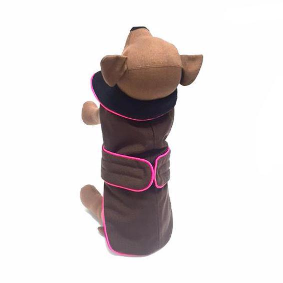 Zoomies Classic Coat  - Coffee/Hotpink