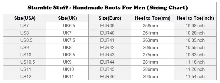 Unique Print Boots For Men Sizing Chart