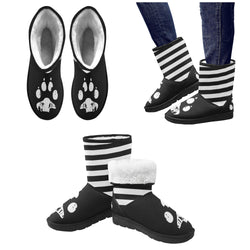 Paw Pin Striped Women's Custom Snow Boots