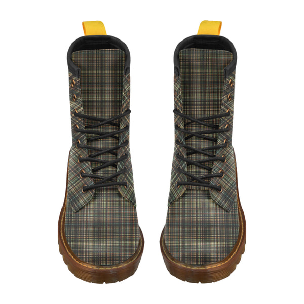 Chocolate Plaid - Unique Print Boots For Men