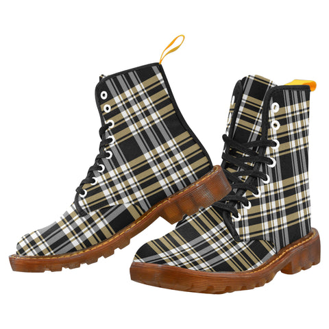 Black & Gold Plaid - Unique Print Boots For Men