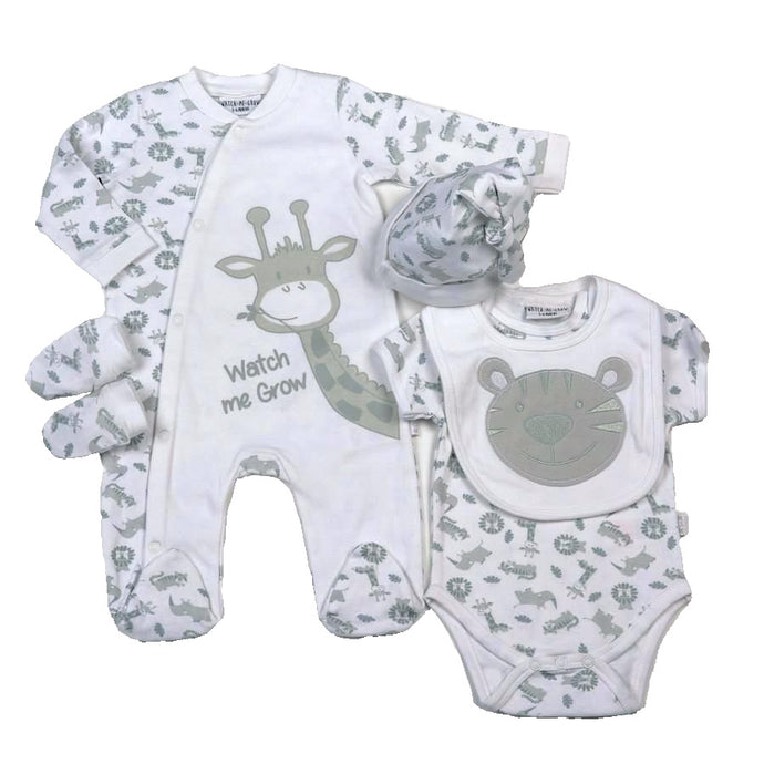 Zoo Animals Gray 5Pc. Layette Set