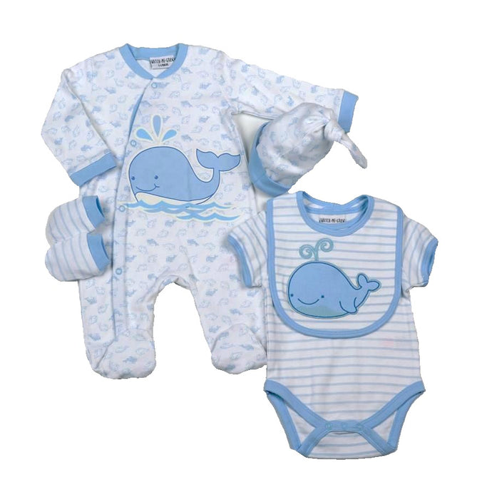 5 Pc. Blue Whale Layette Set