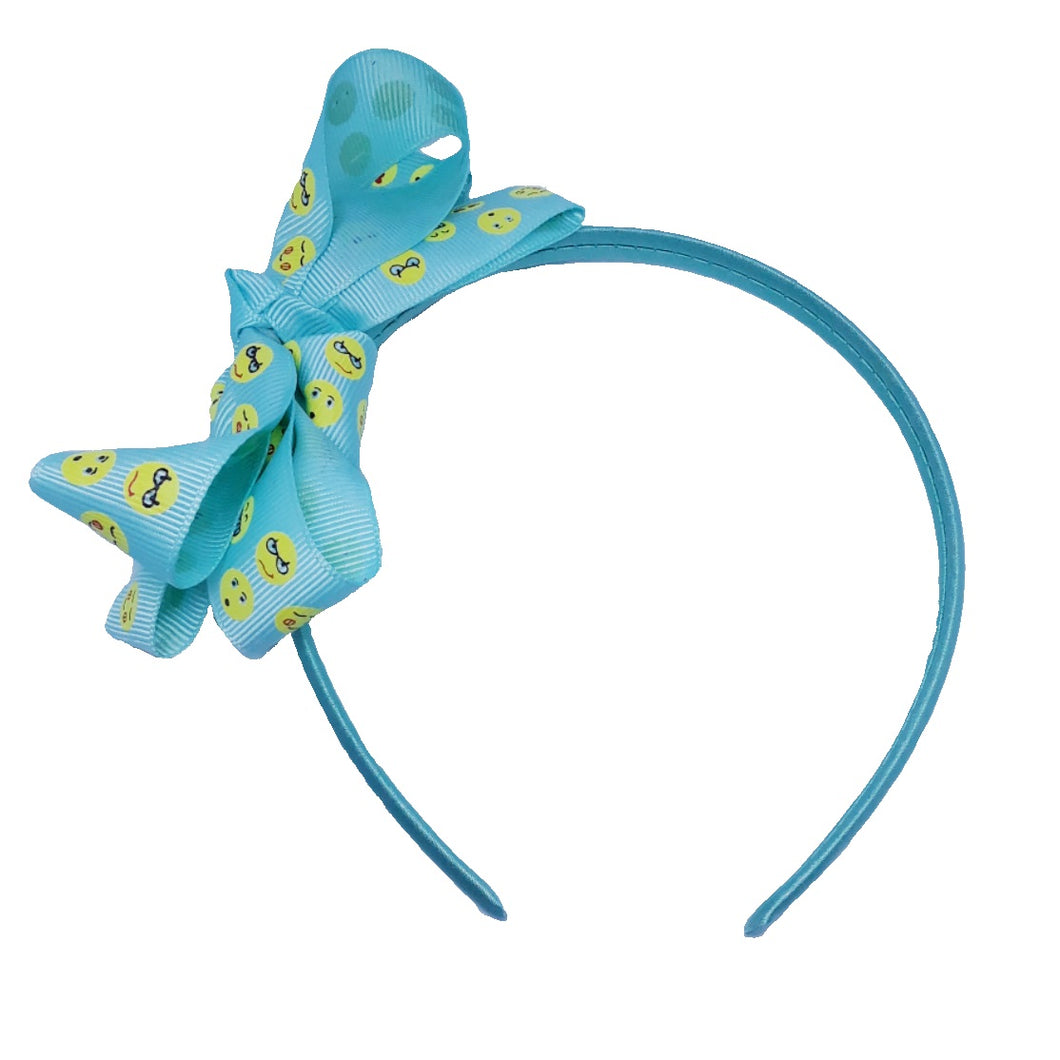 Emoji Print Bow Mint Headband