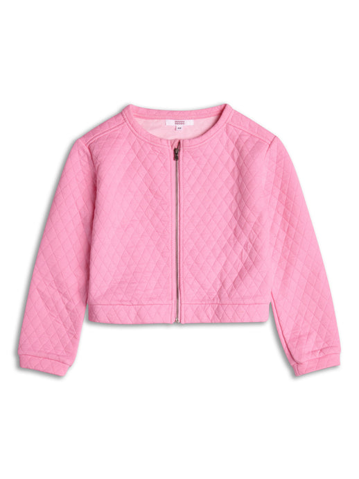 Pink Quilted Collarless Jacket