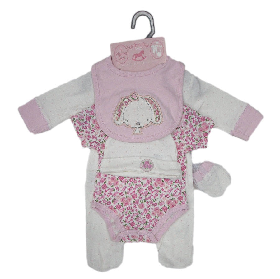 Pink & Floral Bunny 5 Pc. Layette Set