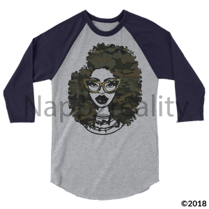 Fashion Fro Army 3/4 Sleeve Raglan Shirt Heather Grey/heather Charcoal / Xs