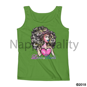 Love My Curls Ladies Tank White / S