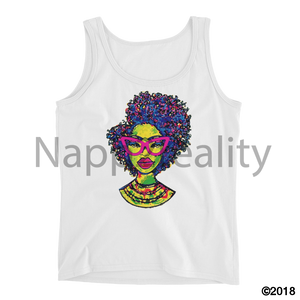 Fashion Fro Rainbow Ladies Tank White / S