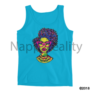 Fashion Fro Rainbow Ladies Tank Caribbean Blue / S
