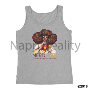 Nerd Girl Ladies Tank Heather Grey / S