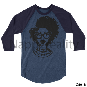 Fashion Fro Blnw 3/4 Sleeve Raglan Shirt Heather Denim/navy / Xs