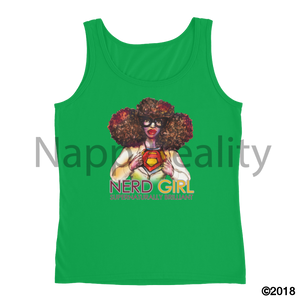 Nerd Girl Ladies Tank Green Apple / S