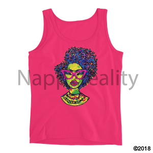Fashion Fro Rainbow Ladies Tank Hot Pink / S
