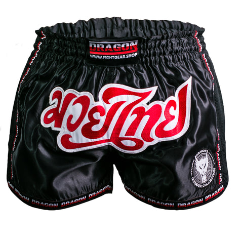 muay thai shorts polyester svart röd blå blueye sports dragon sports
