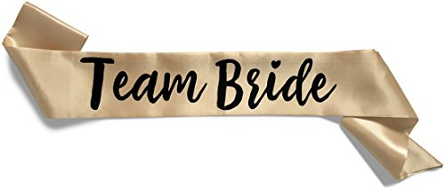 Team Bride Double-Layer Satin Sash - Team Bride, Champagne