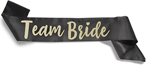 Team Bride Double-Layer Satin Sash - Team Bride, Black