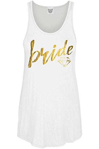 COLORBEAR Women's Bride W/Diamond Gold Foil Graphic Scoop Neck Tank Top