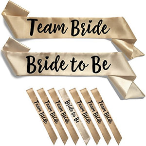 Team Bride 7pc Satin Sash Set - 7pc Set, Light & Deep Champagne
