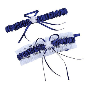 Women Wedding Bridal Legs Garter Set Bridal Garters Lace Belt with Toss Away JW20 (5-Navy Blue)