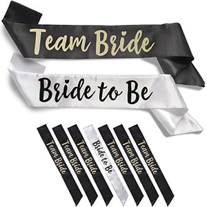 Team Bride 7pc Satin Sash Set - 7pc Set, White & Black