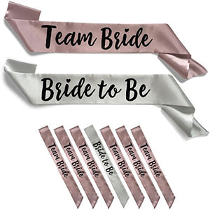 Team Bride 7pc Satin Sash Set - 7pc Set, Silver & Dusty Pink