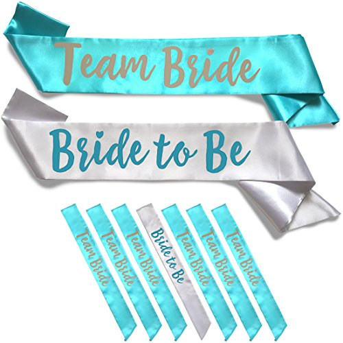 Team Bride 7pc Satin Sash Set - 7pc Set, White & Teal